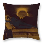 Dreaming Of The New Dawn. Reclining Nude Bathed In Blue. Throw Pillow by Peter Mix and Gustave Le Gray