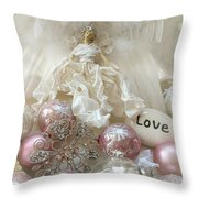 Dreamy Angel Christmas Holiday Shabby Chic Love Print - Holiday Angel Art Romantic Holiday Ornaments Throw Pillow