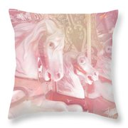 Dreamy Baby Pink Merry Go Round Carousel Horses - Pink Carousel Horses Baby Girl Nursery Decor Throw Pillow