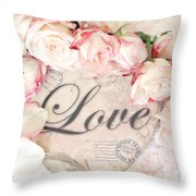 Dreamy Shabby Chic Roses Heart With Love - Love Typography Heart Romantic Cottage Chic Love Prints Throw Pillow