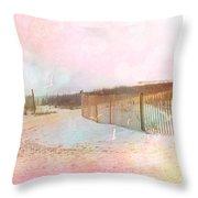 Dreamy Cottage Summer Beach Ocean Coastal Art Throw Pillow