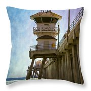 Dreamy Day At Huntington Beach Pier Throw Pillow