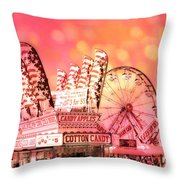 Surreal Hot Pink Orange Carnival Festival Cotton Candy Stand Candy Apples Ferris Wheel Art Throw Pillow