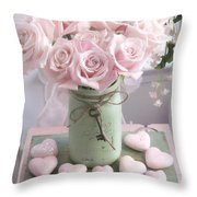 Shabby Chic Pink Roses - Romantic Valentine Roses Hearts Floral Prints Home Decor - Romantic Roses  Throw Pillow