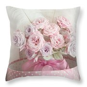 Dreamy Shabby Chic Roses In Pink Polka Dot Hat Box - Romantic Roses Floral Bouquet Throw Pillow