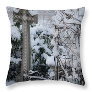 Dreamy Snowy Cross Throw Pillow