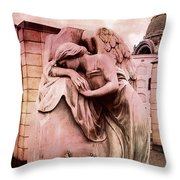 Dreamy Surreal Beautiful Angel Art Photograph - Angel Mourning Weeping At Gravestone  Throw Pillow