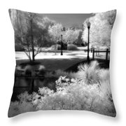 Surreal Infrared Black White Infrared Nature Landscape - Infrared Photography Throw Pillow