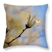 Dreamy Wild Magnolia In The Forest Throw Pillow