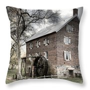 Dreary Skies At Kerr Gristmill Throw Pillow