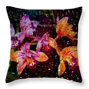 Drenched Flowers Throw Pillow