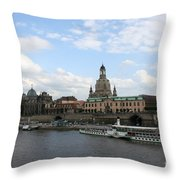 Dresden And River Elbe - Germany Throw Pillow