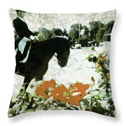 Dressage Roses Throw Pillow