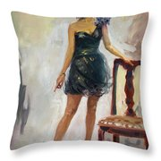 Dressed Up Girl Throw Pillow