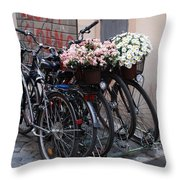 Dressing Up The Bicycle Stand Throw Pillow