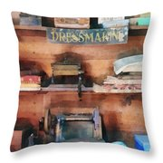 Dressmaking Supplies And Sewing Machine Throw Pillow
