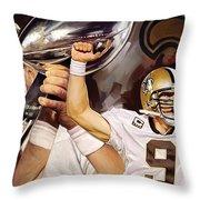 Drew Brees New Orleans Saints Quarterback Artwork Throw Pillow