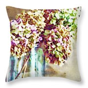 Dried Autumn Hydrangeas - Digital Paint Throw Pillow