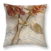 Dried Roses And Vintage Letter Throw Pillow