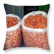 Dried Shrimps In Sacks Throw Pillow
