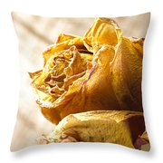 Dried Yellow Rose Throw Pillow