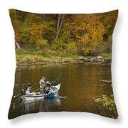 Drift Boat Fishermen On The Muskegon River Throw Pillow