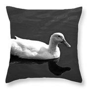 Driftin' Duck - Bw Throw Pillow