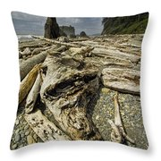 Driftwood And Sea Stacks On Ruby Beach Throw Pillow