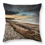 Driftwood Laying On The Gravel Beach Throw Pillow