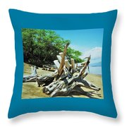 Driftwood On A Maui Beach Throw Pillow