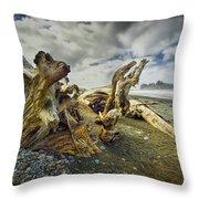 Driftwood On Rialto Beach Throw Pillow