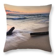 Driftwood On The Beach Throw Pillow by Adam Romanowicz