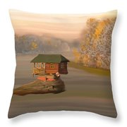 Drina House In Morning Mist Throw Pillow