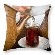Drinking Traditional Turkish Tea Throw Pillow