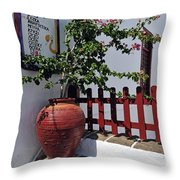 Drinks List In Sifnos Island Throw Pillow