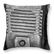 Drive In Movie Speaker In Black And White Throw Pillow by Paul Ward