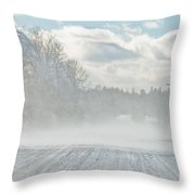 Driving In The Snow Throw Pillow
