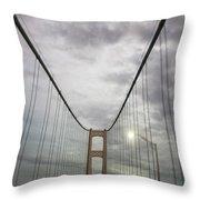 Driving The Mackinac Bridge  Throw Pillow