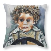 Driving The Taxi Throw Pillow