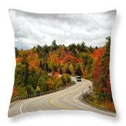 Driving Through Algonquin Park In Fall Throw Pillow