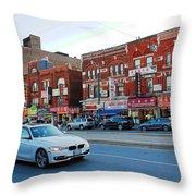 Driving Through Chinatown Throw Pillow