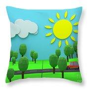Driving Through Countryside Throw Pillow