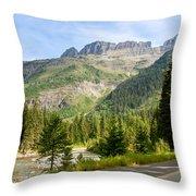 Driving Through Glacier National Park Throw Pillow