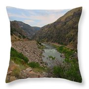 Driving Through Wind River Canyon Throw Pillow