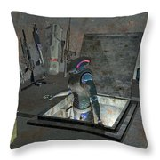 Droid Discovering A Weapons Cache Throw Pillow