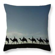 Dromedary Camels In Thar Desert Throw Pillow