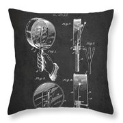 Droop Hand  Drum Patent Drawing From 1892 - Dark Throw Pillow