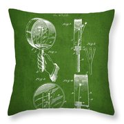 Droop Hand  Drum Patent Drawing From 1892 - Green Throw Pillow