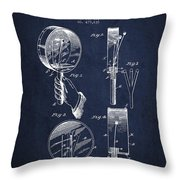Droop Hand  Drum Patent Drawing From 1892 - Navy Blue Throw Pillow