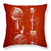 Droop Hand  Drum Patent Drawing From 1892 - Red Throw Pillow